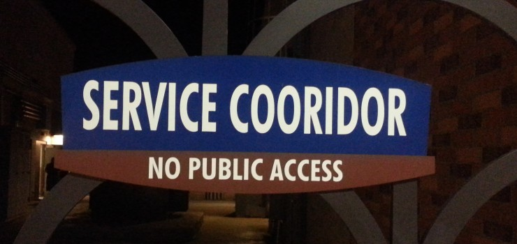 Sign with corridor spelled as cooridor.