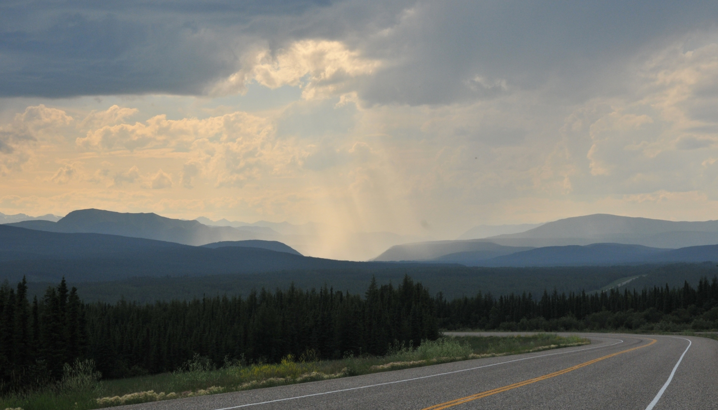 The clouds part on the Alcan Highway