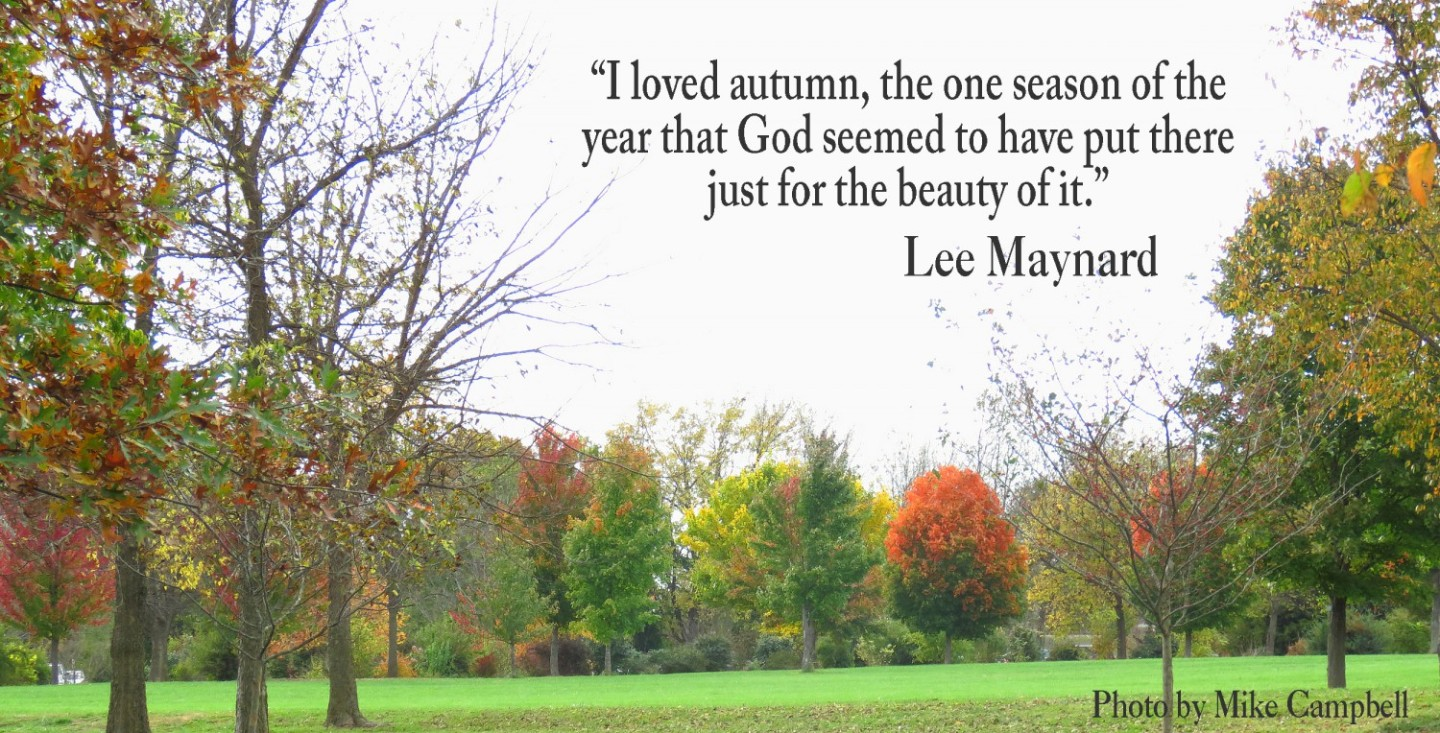 """I loved autumn, the one season of the year that God seemed to have put there just for the beauty of it."""