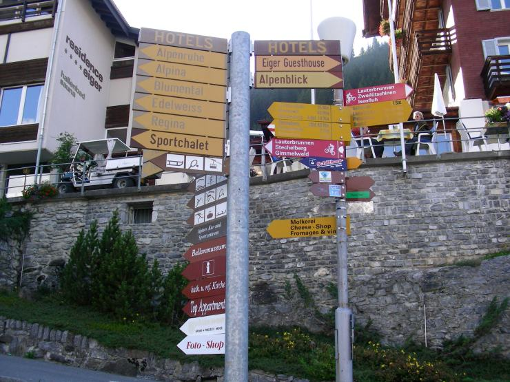 Murren, Switzerland direction signs
