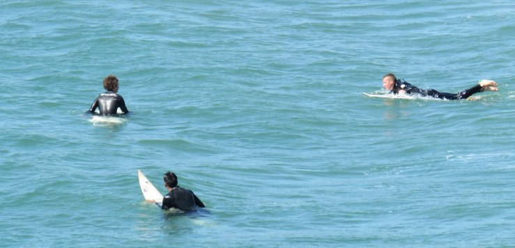 Surfers waiting for a wave